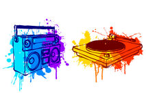 Music equipment. Boombox and turntable, with colorful grunge elements Royalty Free Stock Images