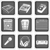 Music equipment icons Royalty Free Stock Image