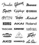 Music equipment manufacturers logos Royalty Free Stock Image