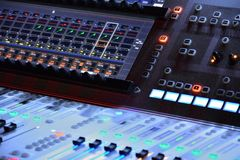 Music equipment, sound console. At night at a festival Stock Photo