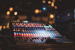 Music equipment for sound mixer control on party stage. Royalty Free Stock Images