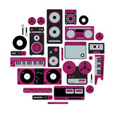 Music equipments set. Composition with music equipments silhouettes Stock Photos