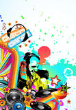 Music Event Background. Abstract Colorful Music Event Background with Dj Shape and Rainbow Colours Stock Photos