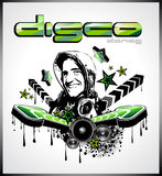 Music Event Background with Disk Jockey Shape Stock Images