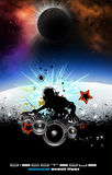 Music Event Background with Dj Shape Royalty Free Stock Photo