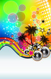 Music Event Background with Dj Shape. Abstract Colorful Music Event Background with Dj Shape and Rainbow Colours Stock Photo