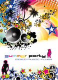 Music Event Discoteque Flyer. Disco Dance Tropical Music Flyer with colorful background Stock Images