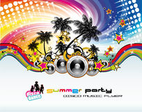 Music Event Discoteque Flyer. Disco Dance Tropical Music Flyer with colorful background Royalty Free Stock Images