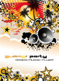 Music Event Discoteque Flyer. Disco Dance Tropical Music Flyer with colorful background Royalty Free Stock Image