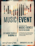 Music event flyer template. Abstract light effect flyer for a live music event royalty free illustration