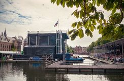 Music event on the Hofvijver, in the background the Binnenhof, T Royalty Free Stock Photos
