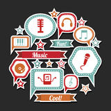 Music expression icons. Over black background vector illustration Royalty Free Stock Images