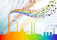 Music factory. With colour notes Royalty Free Stock Images