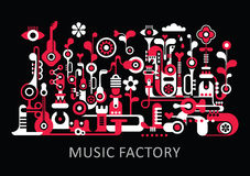 Music Factory. Abstract art composition. Graphic design with text Music Factory. Isolated red and white vector illustration on black background Stock Photo