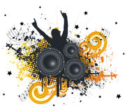 Music Fan. Grunge Splatter Music Speaker Fan Vector Illustration Stock Image
