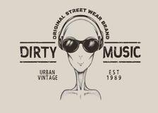 Music fan-alien in headphones Royalty Free Stock Images