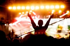 Free Music Fan Enjoying Night Perfomance Of Famous Artist On Stage Stock Photos - 172525163