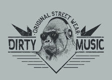 Music fan gorilla.Street style label. Music fan gorilla in headphones.Prints design for t-shirt.Street style label Stock Photography