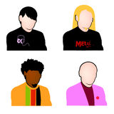 Music fans avatar set vector. Vectored illustration of blank faces for music related sites, communites and forums, with teenagers, for fans of emo, metal, black Royalty Free Stock Photography