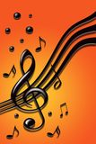 Music festival. Stylish design of music notes on the orange background Stock Photo