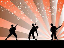 Music - festival. Vector illustration of people on a disco background Stock Photos