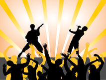Music - festival. Vector illustration of people on a disco background Stock Photo