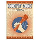 Music festival background with guitar and hand.Vector isolated p. Oster on old paper on white Royalty Free Stock Images