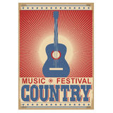 Music festival background with guitar.Vector  on white. Acoustic guitar Country music festival background.Vector poster illustration  on white Royalty Free Stock Photography