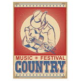 Music festival background with musician playing guitar. Vector retro poster with text Royalty Free Stock Photography