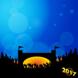 Music festival background 2017 with stage and crowd. Music Festival Blue Background with Fiery Stage Silhouette Crowd and 2017 in Golden Number Stock Photo