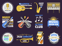 Music festival badge vector illustration. Royalty Free Stock Photos