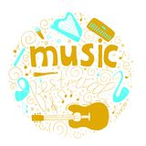 Music festival concept in circle in hand drawn doodle style. vector illustration
