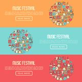 Music festival concept in circle. With thin line icons DJ in headphones, vinyl player, disco ball, microphone, tickets. Vector illustration for banner, web page Stock Image