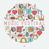 Music festival concept in circle. With thin line icons DJ in headphones, vinyl player, disco ball, microphone, tickets. Vector illustration for banner, web page Royalty Free Stock Images