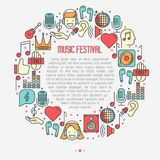 Music festival concept in circle. With thin line icons DJ in headphones, vinyl player, disco ball, microphone, tickets. Vector illustration for banner, web page Stock Photography
