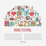 Music festival concept in half circle. With thin line icons DJ in headphones, vinyl player, disco ball, microphone, tickets. Vector illustration for banner, web Stock Photo