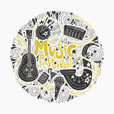 Music Festival Concept. Round concept for music festival advertisment or music party. Handdrawn illustratuins of musical instruments Royalty Free Stock Images