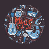 Music Festival Concept. Round concept for music festival advertisment or music party. Handdrawn illustratuins of musical instruments Stock Image