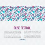 Music festival concept with thin line icons. DJ in headphones, vinyl player, disco ball, microphone, tickets. Vector illustration for banner, web page, flyer Royalty Free Stock Photography