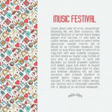 Music festival concept with thin line icons. DJ in headphones, vinyl player, disco ball, microphone, tickets. Vector illustration for banner, web page, flyer Royalty Free Stock Image