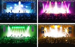 Music festival or concert streaming stage scene with lights fanzone vector illustration party human hands silhouette. Party music scene hands up show Stock Photos