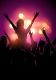 Music Festival Crowd. A group of young people in a crowd at a music festival concert. Vector illustration Stock Photography