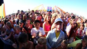 Music Festival Crowds and Stage stock footage