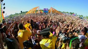 Music Festival Crowds and Stage stock video footage