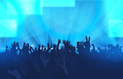 Music festival with dancing people and glowing lights. Creative Royalty Free Stock Image