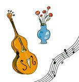 Music festival elements - notes, instrument, flowers, graphic illustration Royalty Free Stock Image