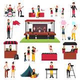 Music Festival Elements Set. Open air festival isolated icons collection with human characters of fest visitors families musicians soda jerks vector illustration Stock Photography