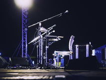 Music Festival Event Microphone on Concert Stage royalty free stock photos