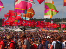 Music Festival flags and crowd Royalty Free Stock Image