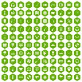 100 music festival icons hexagon green. 100 music festival icons set in green hexagon isolated vector illustration Stock Photo